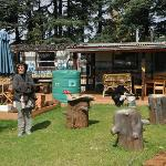 The rustic coffee shop on the lodge grounds