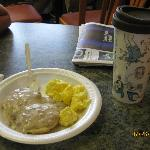 biscuits and gravy and scrambled eggs from the free breakfast