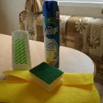 Cleaning materials we bought from site shop to clean caravan