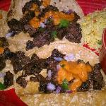 skirt steak tacos with rice & beans