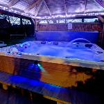 Luxury private hot tub at night