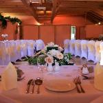 The roundhouse..we decorated with chaircovers, gingerbread men favours and vintage peach roses