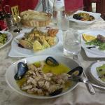 seafood salad, fritto misto, tuna tartare and seafood fregulina