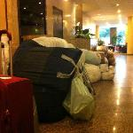 Lobby & Reception with lot of stinking bags