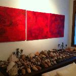 Lounge area, artwork & shell collection