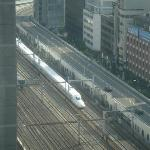 View of Shinkansen and Subway train from 20th floor