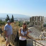 Our tour guide, Eleni, teaching us about Odeon of Herodes Atticus.