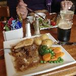 beef pie and Dark Island ale