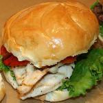 Delicious chicken sandwich at Caledon Burger Co.