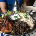 The meaty main: lamb, chicken kebabs and rice (with ice tea in the background)