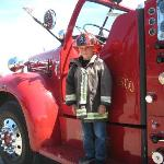 My grandson decked out in fire gear!