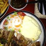 Rib and chicken combo with mashed potatoes