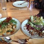 prawns on left, Radicchio on right