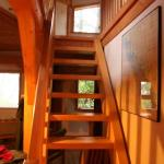 Cypress Cabin - stairs up to bedroom lookout