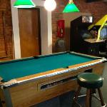Arcade and billiards with missing lamp shade