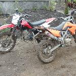 The bikes covered in mud after our ride!