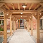 Oak frame leading to Fordhall Farm shop