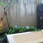 Outdoor bathroom and rain shower