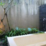 Outdoor bathroom and rain shower