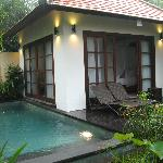 View of the one of the two bedrooms and private pool