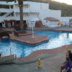 beach club pool at night
