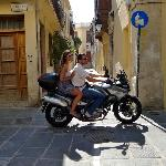 Narrow streets and motorbikes in Rethymnon