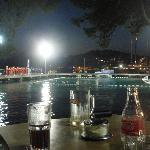 Enjoying dinner whilst watching a water polo match on a Saturday evening in Cavtat