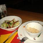 Hummus and Potato Salad. Nice and refreshing