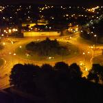 The roundabout at night.