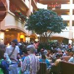 Hordes clamoring for refreshments at poorly organized happy hour