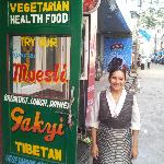 Owner of the Restaurant standing outside the entrance. Down to the earth person she is...