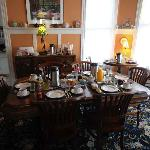 Dining room set up for breakfast.