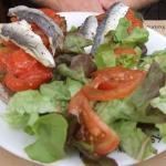 Tartine with sardines and tomatoes
