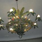 The chandelier in Emiliano..decoraed with wrought iron animals..delightful