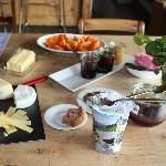 fresh fruit, local cheeses and yogurt, homemade jams for breakfast