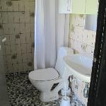 Bathroom has shower