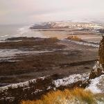 Snowy view northward from Efford Cliff, Bude