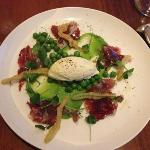 ricotta, iberico ham and English peas