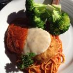 Chicken Parm-- steamed broccoli was unexpected