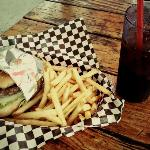 Awesome hamburger, fries and root beer.