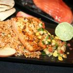 Las Vegas: Marinated salmon topped with apple, corn and pine nut salsa.