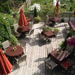 Sun deck looking south over organic gardens and the ocean to the west. Brewster's harvests from