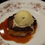 Tart Tatin, peaches and home made vanilla ice cream
