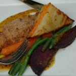 Maple-crusted salmon entree