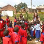 Amy and Bethan with children from Chosen Children Centre in Nansana