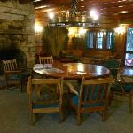 "Communal ""living room"" on lower level of the Main Lodge"