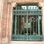 Entrance to Busch mausoleum- note beautiful stained glass in the back