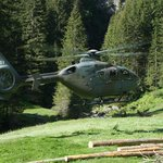 Helicopter we saw landing in a meadow with supplies for one of the Alpine Huts