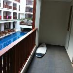 all rooms overlook pool