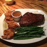 12oz steak, coconut shrimp and string beans